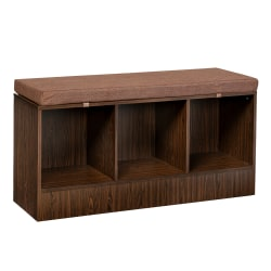 "Honey Can Do Entryway Bench With Storage Shelves, 22-1/8""H x 44-1/8""W x 14-9/16""D, Deep Espresso"