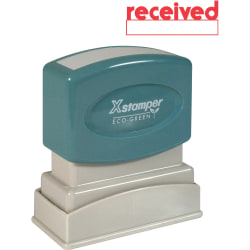 """Xstamper® One-Color Title Stamp, Pre-Inked, """"Received"""", Red"""