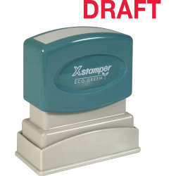 "Xstamper® One-Color Title Stamp, Pre-Inked, ""Draft"", Red"