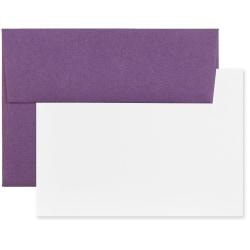 "JAM Paper® Stationery Set, 5 1/4"" x 7 1/4"", Set Of 25 White Cards And 25 Dark Purple Envelopes"