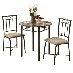 Monarch Specialties Owen Dining Table With 2 Chairs, Cappuccino/Bronze