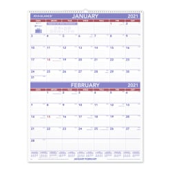 "AT-A-GLANCE® 2-Month Wall Calendar, 22"" x 29"", January to December 2021, PM928"