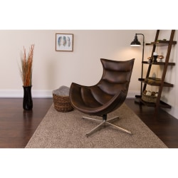 Flash Furniture Cocoon Swivel Chair, Brown/Silver