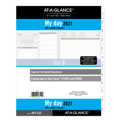 """At-A-Glance® Daily Planner Refill, 8-1/2"""" x 11"""", Black/White, January To December 2021, 491-225"""