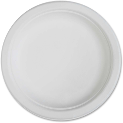 "Genuine Joe Compostable Plates - 6"" Diameter Plate - Disposable - White - 50 Piece(s) / Pack"
