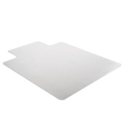 """Deflect-O Earth Source® Chair Mat For Commercial Pile Carpets, Beveled Edge, Wide Lip, 45"""" x 53"""", Clear"""