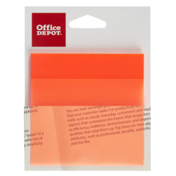 "Office Depot® Brand Translucent Sticky Notes, 3"" x 3"", Orange, 50 Notes Per Pad"