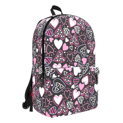 """Space Junk Pattern Geometric Backpack With 15"""" Laptop Compartment, Pink Hearts"""
