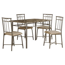 Monarch Specialties Adam Dining Table With 4 Chairs, Cappuccino/Bronze