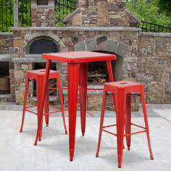 """Flash Furniture Square Metal Bar Table Set With 2 Backless Stools, 40""""H x 27-3/4""""W x 27-3/4""""D, Red"""