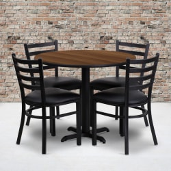 "Flash Furniture Round Table With X-Base And 4 Ladder-Back Chairs, 30"" x 36"", Walnut/Black"