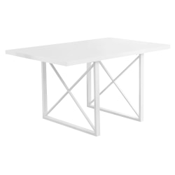 """Monarch Specialties Alice Dining Table With 4 Chairs, 30""""H x 60""""W x 36""""D, White"""