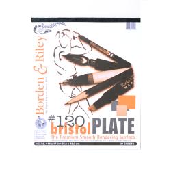 """Borden & Riley #120 Bristol Pad, Plate Finish, 14"""" x 17"""", 12 Sheets Per Pad"""