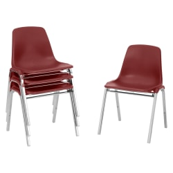"""National Public Seating Plastic Seat, Stacking Chair, 16 3/4"""" Seat Width, Burgundy Seat/Chrome Frame, Quantity: 4"""