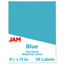 """JAM Paper® Full-Page Mailing And Shipping Labels, 337628605, 8 1/2"""" x 11"""", Blue, Pack Of 10"""