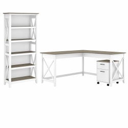 """Bush Furniture Key West 60""""W L-Shaped Desk With 2-Drawer Mobile File Cabinet And 5-Shelf Bookcase, Shiplap Gray/Pure White, Standard Delivery"""