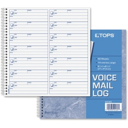 "TOPS Voice Message Log Book - 50 Sheet(s) - 24 lb - Spiral Bound - 8 1/2"" x 8 1/4"" Sheet Size - White - Blue Print Color - 1 Each"