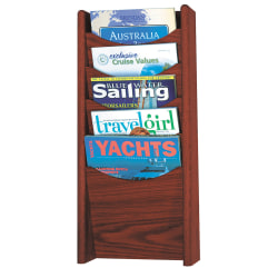 Safco® 5-Pocket Wood Literature Display Rack, Mahogany