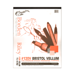 "Borden & Riley #120 Bristol Pad, Vellum Finish, 11"" x 14"", 12 Sheets Per Pad"