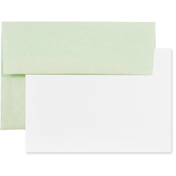 "JAM Paper® Stationery Set, 4 3/4"" x 6 1/2"", 30% Recycled, Green/White, Set Of 25 Cards And Envelopes"