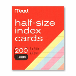"Mead Printable Index Card - 3"" x 2 1/2"" - 200 / Pack - Assorted"