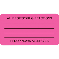 "Tabbies® Permanent ""Allergy/Drug Reaction"" Label Roll, TAB01730, Pink, Roll Of 250"