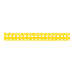 "Barker Creek Scalloped-Edge Double-Sided Borders, 2 1/4"" x 36"", Lemon Yellow, Pack Of 13"
