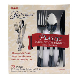 Comet® Reflections™ Heavyweight Plastic Cutlery, Silver, Set Of 75