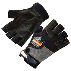 Ergodyne ProFlex 901 Half-Finger Leather Impact Gloves, Large, Black