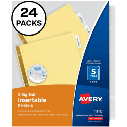 "Avery® Big Tab™ Insertable Dividers, Gold Reinforced, 30% Recycled, Buff/Clear, 8 1/2"" x 11"", 5-Tab, Pack Of 24"