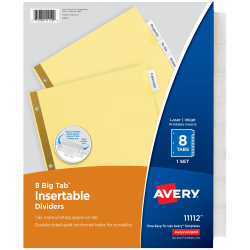 """Avery® Big Tab™ Insertable Dividers, Gold Reinforced, 30% Recycled, Buff/Clear, 8 1/2"""" x 11"""", 8-Tab, Pack Of 24"""
