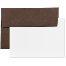 """JAM Paper® Stationery Set, 4 3/4"""" x 6 1/2"""", 100% Recycled, Chocolate Brown/White, Set Of 25 Cards And Envelopes"""