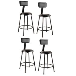 """National Public Seating 6400B-10 Stationary Stools With Backrests, 24""""H, Black, Set Of 4 Stools"""