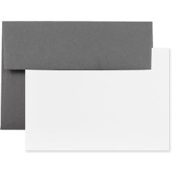 "JAM Paper® Stationery Set, 4 3/4"" x 6 1/2"", Dark Gray/White, Set Of 25 Cards And Envelopes"