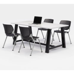 """KFI Studios Midtown Table With 4 Stacking Chairs, 30""""H x 36""""W x 72""""D, Designer White/Black"""