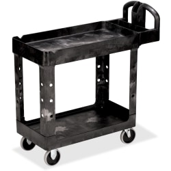 """Rubbermaid Commercial HD 2-Shelf Utility Cart with Lipped Shelf (Small) - 2 Shelf - 500 lb Capacity - 4 Casters - 5"""" Caster Size - Resin - 39"""" Length x 17.9"""" Width x 33.2"""" Height - Black - 1 Each"""