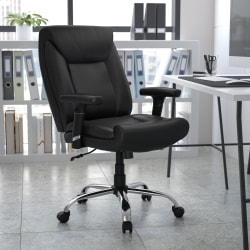 Flash Furniture Hercules Big And Tall Bonded LeatherSoft™ Mid-Back Swivel Task Chair With Adjustable Arms, Black
