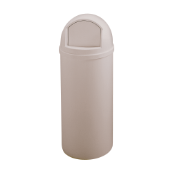 """Rubbermaid® Marshal Round Polyethylene Trash Container, 42"""" x 18"""", 25 Gallons, Beige"""