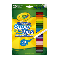 Crayola® Washable Markers, Super Tip, Assorted Colors, Box Of 10