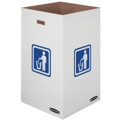 "Bankers Box® Waste And Recycling Bins, 42 Gallons, 30""H x 18""W x 18""D, 60% Recycled, White/Blue, Pack Of 10"