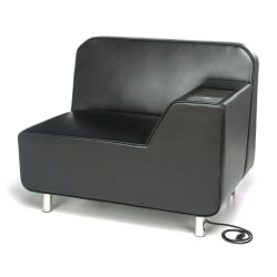 OFM Serenity Series Left Arm Lounge Chair With AC Outlet And USB Port, Black/Chrome
