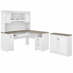 "Bush Furniture Fairview 60""W L-Shaped Desk With Hutch And Small Storage Cabinet, Shiplap Gray/Pure White, Standard Delivery"