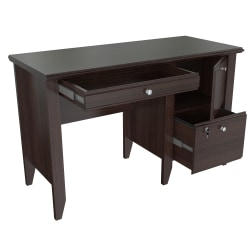 Inval Sherbrook Computer/Writing Desk With Locking File Drawer, Espresso
