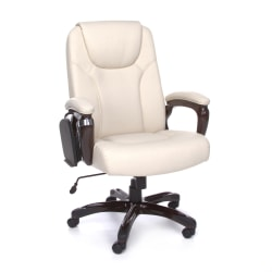 OFM ORO Bonded Leather High-Back Multitask Tablet Chair, Cream/Wood Grain