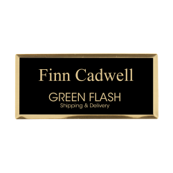 "Custom Engraved Metal Name Badge, 1-1/4"" x 2-3/4"", Black/Gold"