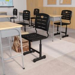 Flash Furniture Adjustable Pedestal Frame Student Chair, Black