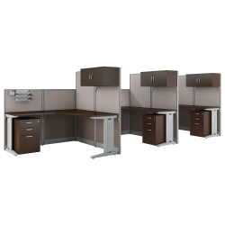 Bush Business Furniture Office in an Hour 3 Person L Shaped Cubicle Workstations, Mocha Cherry, Standard Delivery