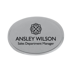 "Custom Engraved Metal Name Badge, 1-3/4"" x 2-1/2"", Silver"