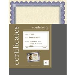 """Southworth® Foil Enhanced Preprinted Certificate Refills, 8 1/2"""" x 11"""", Ivory/Silver/Blue, Pack Of 15"""