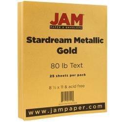 "JAM Paper® Printer Paper, Letter Size (8 1/2"" x 11""), 80 Lb, Gold Metallic, Ream Of 25 Sheets"